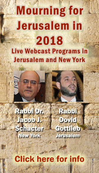 Mourning for Jerusalem: A Live webcast from Jerusalem and Teaneck NJ